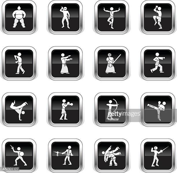 ilustrações de stock, clip art, desenhos animados e ícones de supergloss preto ícones-artes marciais - capoeira