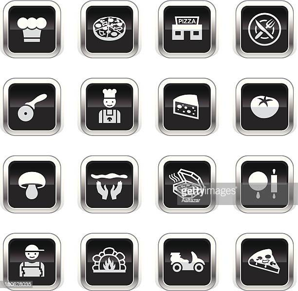 supergloss black icons - pizzeria - moped stock illustrations, clip art, cartoons, & icons