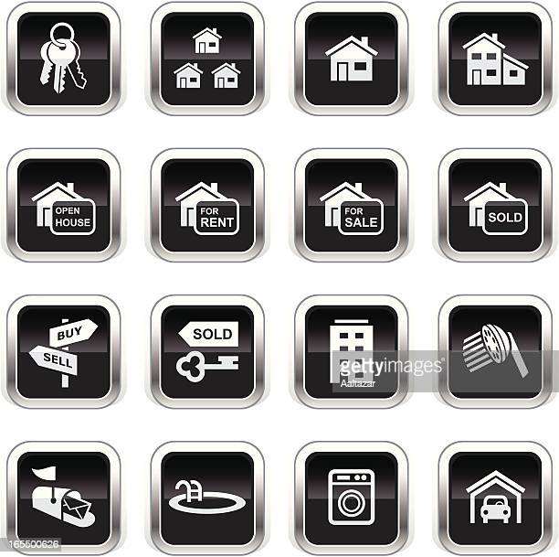 supergloss black icons - real estate - estate agent sign stock illustrations