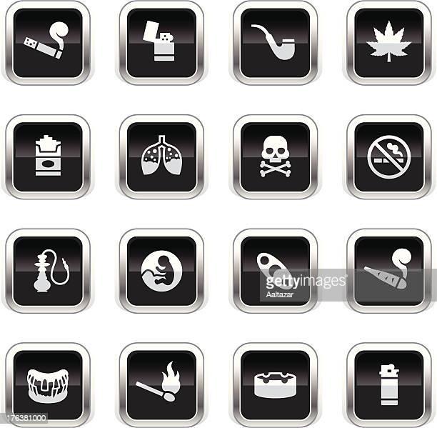 supergloss black icons - smoking - crack pipe stock illustrations