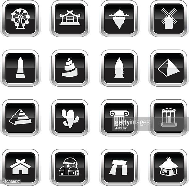 supergloss black icons - travel - megalith stock illustrations, clip art, cartoons, & icons