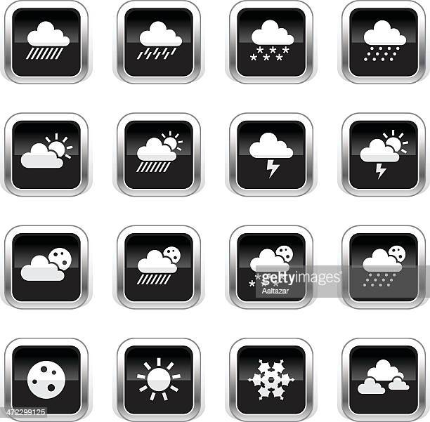 supergloss black icons - weather - hailstone stock illustrations, clip art, cartoons, & icons