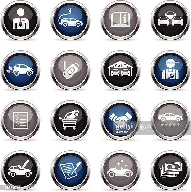 supergloss icons - car dealership - car salesperson stock illustrations, clip art, cartoons, & icons