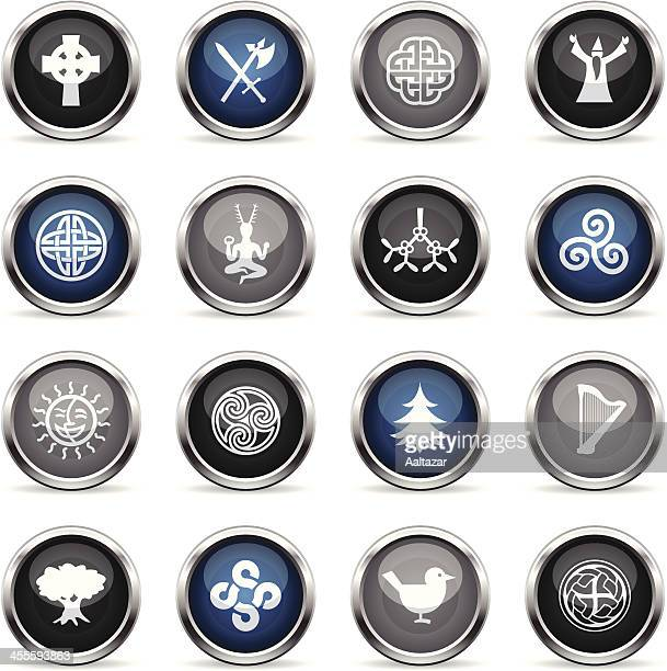 supergloss icons - celtic - celtic music stock illustrations, clip art, cartoons, & icons