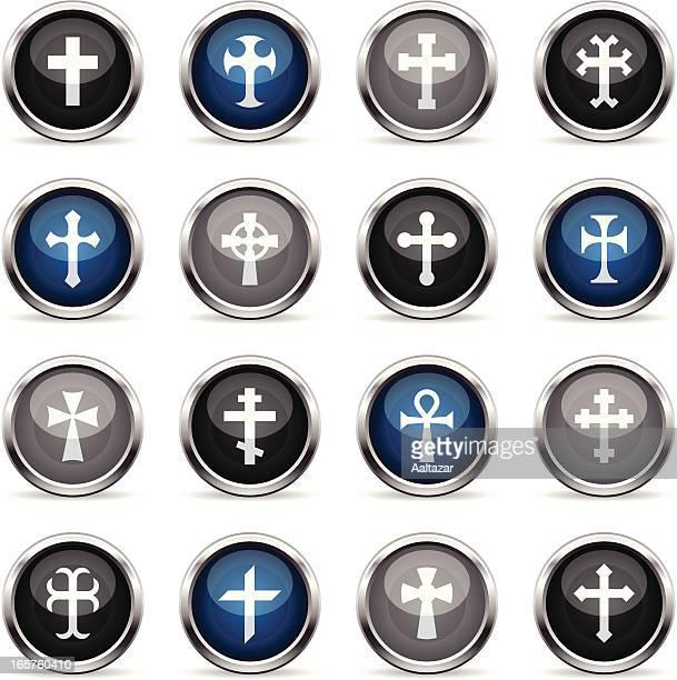 supergloss icons - crosses - celtic cross stock illustrations, clip art, cartoons, & icons