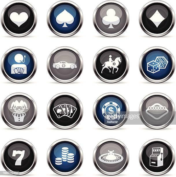 ilustraciones, imágenes clip art, dibujos animados e iconos de stock de supergloss iconos de juegos de azar - fajo de billetes