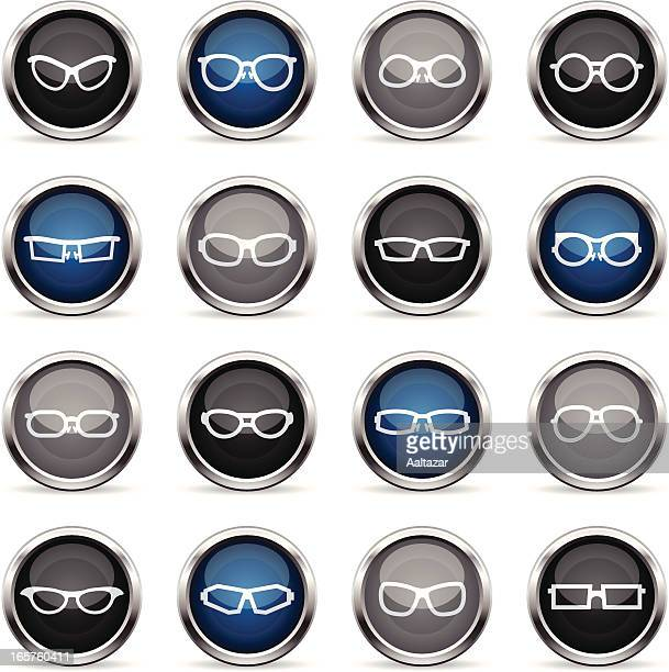 supergloss icons - glasses - cat's eye glasses stock illustrations