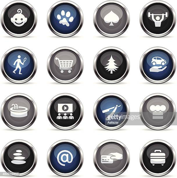 ilustraciones, imágenes clip art, dibujos animados e iconos de stock de supergloss iconos-servicios y comodidades del hotel - alquiler de coche