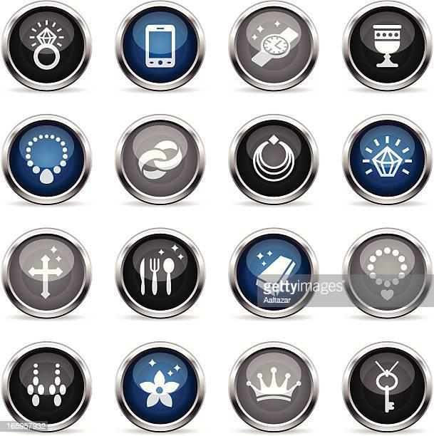 supergloss icons - jewellery - medallion stock illustrations