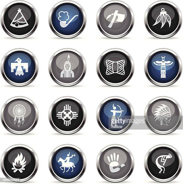 supergloss icons - native american - cherokee culture stock illustrations, clip art, cartoons, & icons