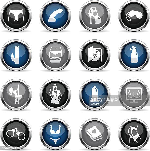 supergloss icons - sex industry - sexual fetish stock illustrations, clip art, cartoons, & icons