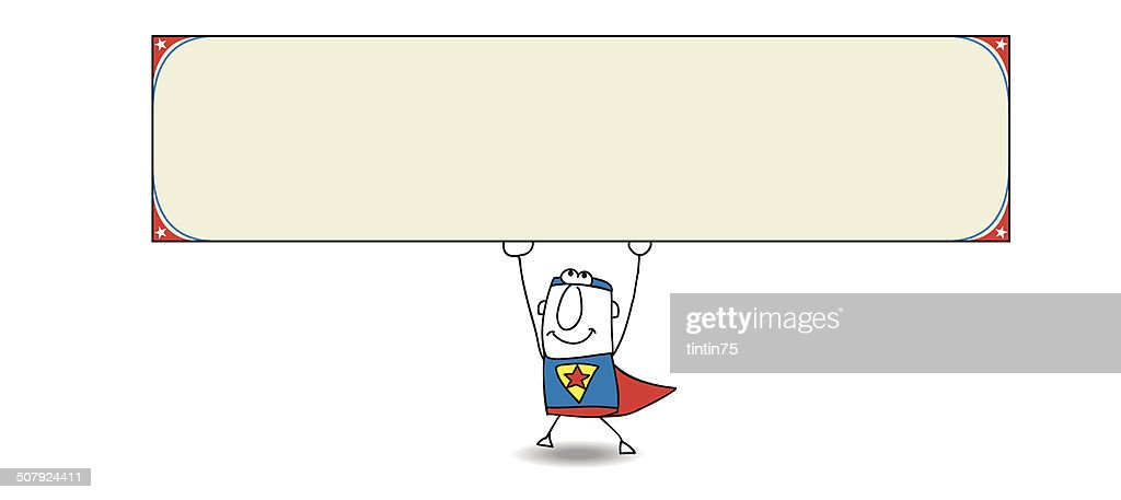 Superhero and horizontal banner