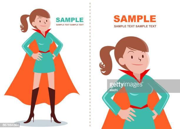 ilustrações, clipart, desenhos animados e ícones de garota de super-herói marrom (mulheres) pé com mão no quadril - mão no quadril