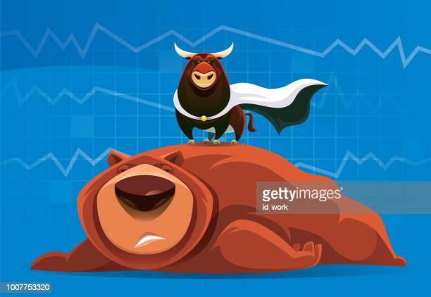 superhero bull and failed bear - bull animal stock illustrations