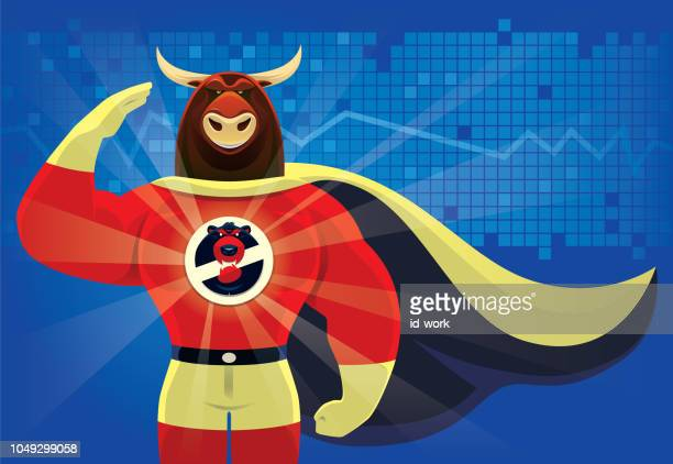 superhero bull saluting - bull market stock illustrations, clip art, cartoons, & icons