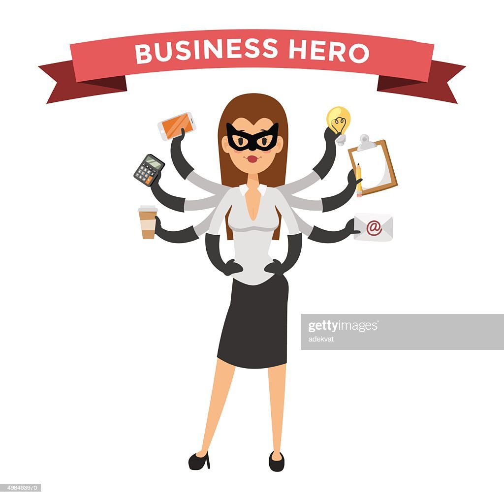 Superhero business woman vector