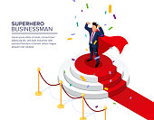 Superhero businessman standing on a pedestal. The best employee of the month. Top manager or boss. The process of awarding. Editable vector isometric illustration.
