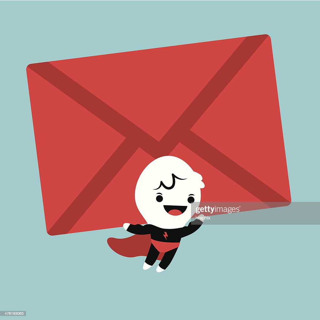 Superhero cartoon lifting an mail envelope
