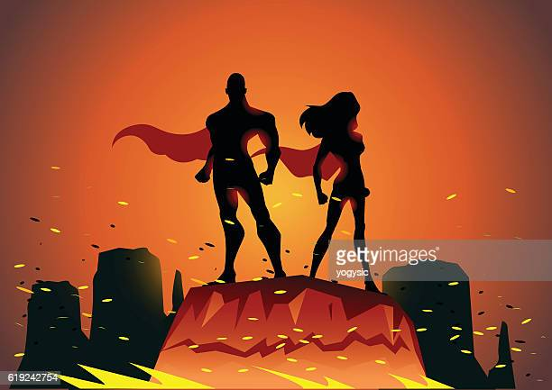 superhero couple after battle - sparks stock illustrations, clip art, cartoons, & icons