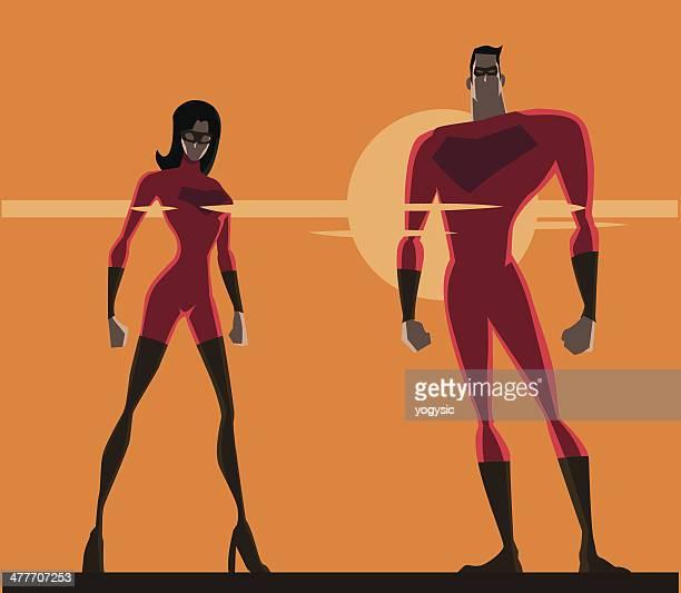 スーパーヒーローのカップル均一
