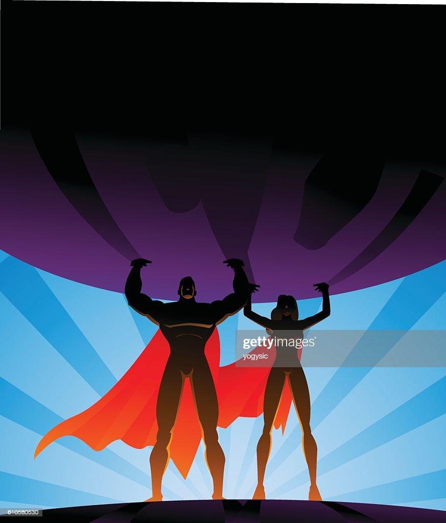 Superhero Couple Lifts a Big Globe in Silhouette : stock illustration