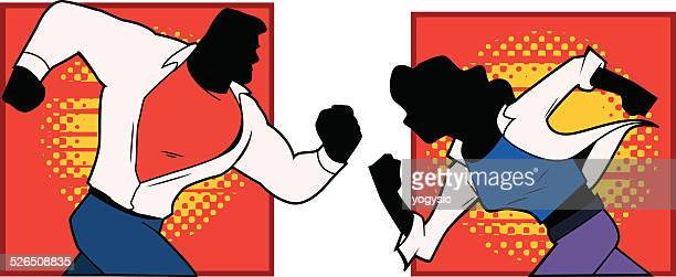 superhero couple running silhouette - conversion sport stock illustrations