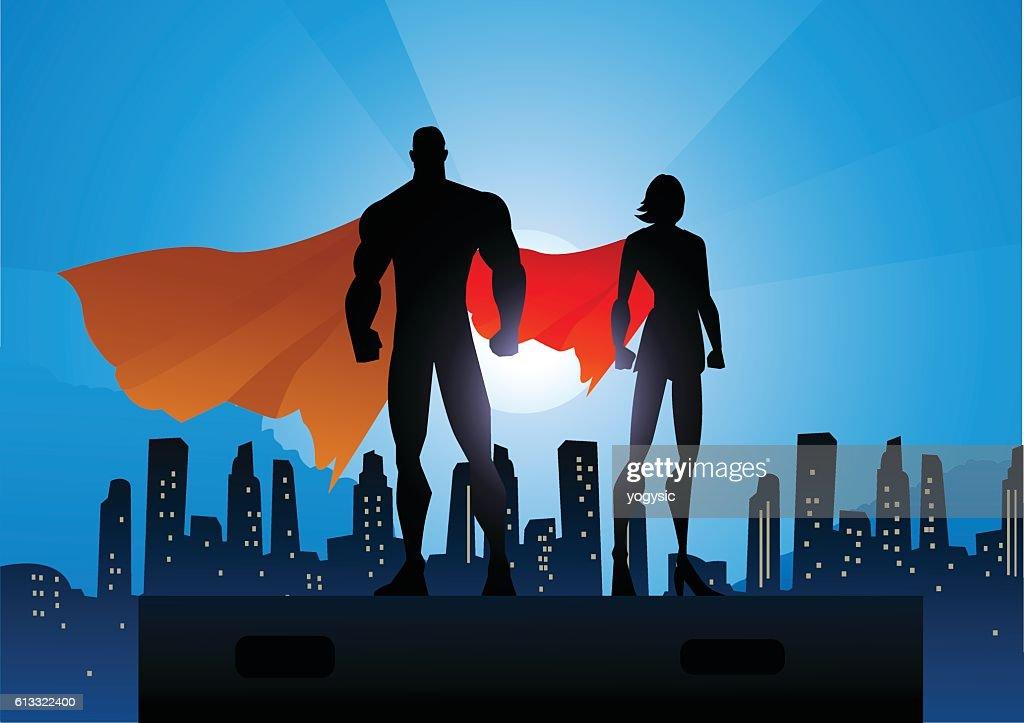 Superhero Couple Silhouette in The City : stock illustration