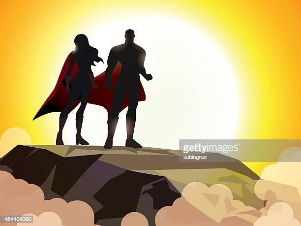 Superhero Couple Silhouette