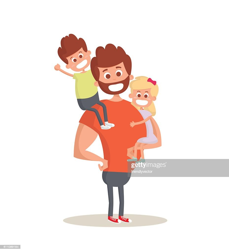 Superhero dad concept. Strong Dad holding his two children.