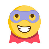 Superhero emoticon. Vector emoji Smiley with mask and cape