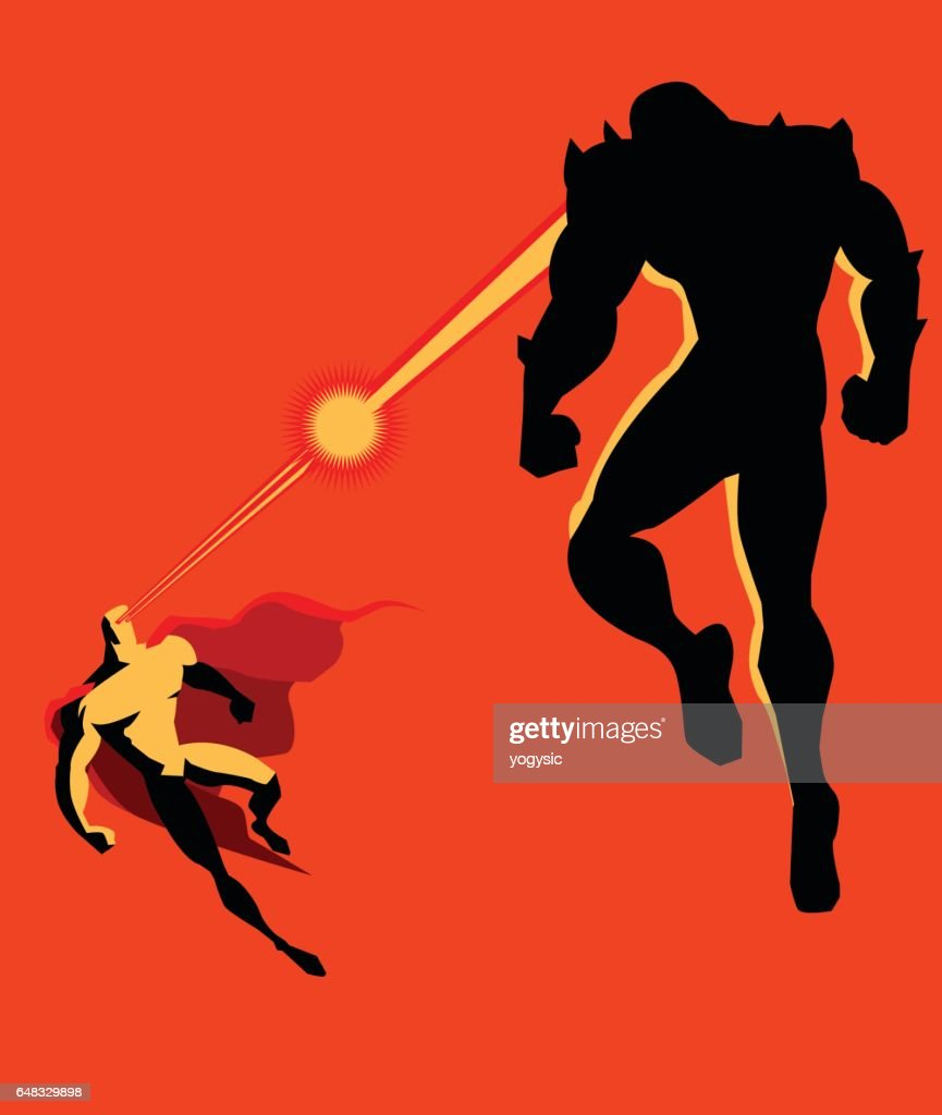 Superhero Fighting Monster with Heat Vision