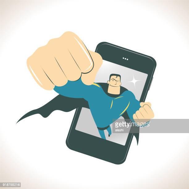 illustrations, cliparts, dessins animés et icônes de vol de super-héros depuis un smartphone (téléphone portable) et regardant vers le haut et montrant un gros coup de poing - force