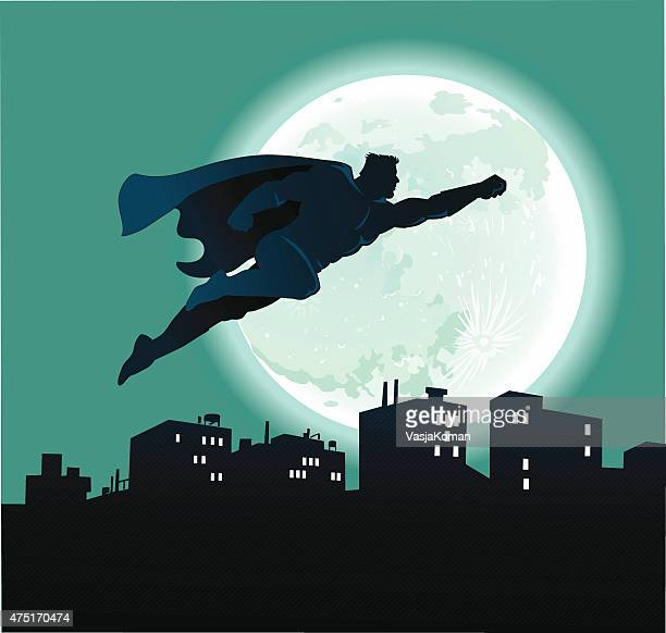 superhero flying over city at night and full moon - traditional clothing stock illustrations