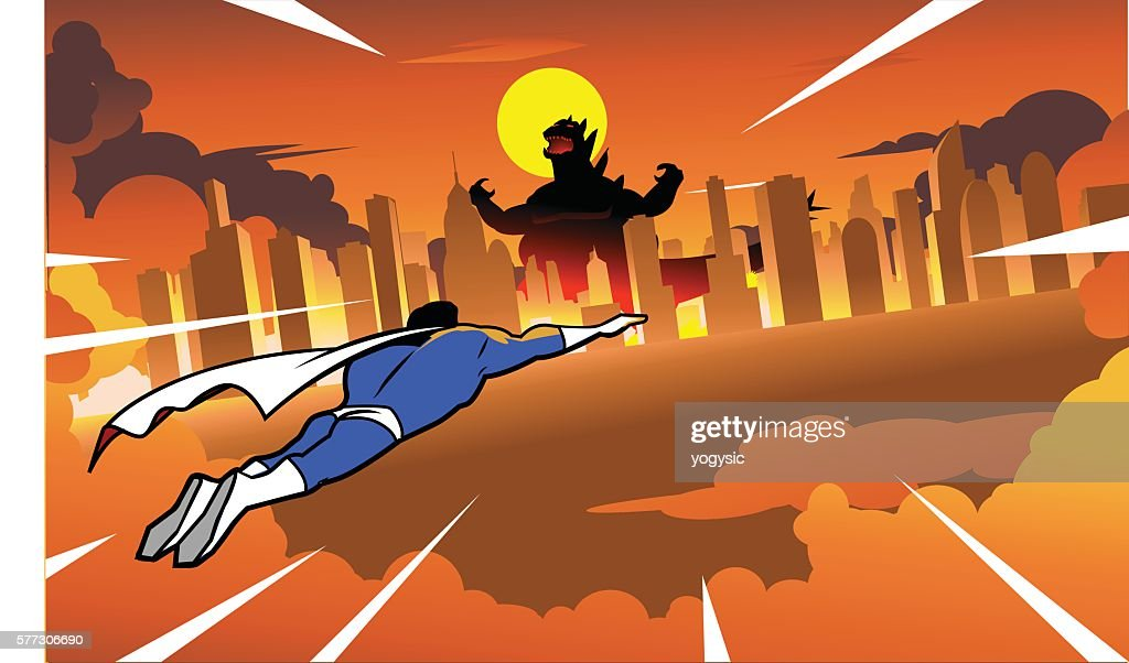Superhero flying to fight rampaging monster in the city : stock illustration