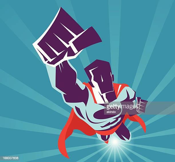 ilustraciones, imágenes clip art, dibujos animados e iconos de stock de superhéroe flying - fuerzas de la naturaleza