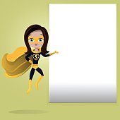 Superhero girl with mask flying and showing blank space