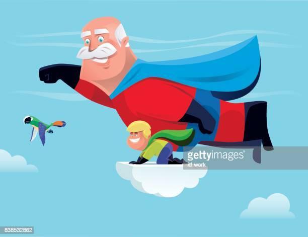 Nieto y abuelo de superhéroe