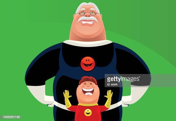 superhero grandpa and boy cheering
