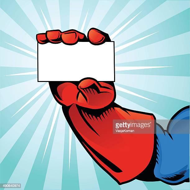 Superhero Hand Holding Business Card - Blue Background