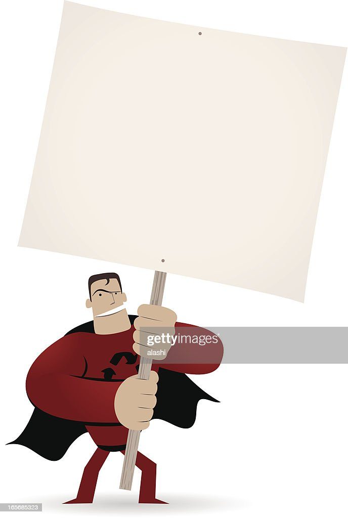 Superhero holding a blank sign for your message