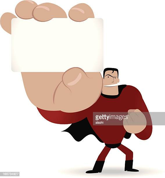 superhero holding a white message card - id card template stock illustrations