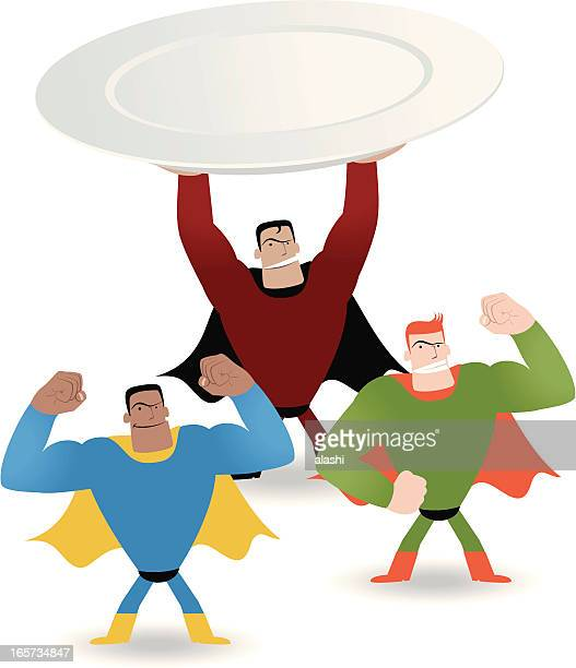 Superhero holding plate showing power  ( Good food make you strong )
