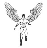 Superhero in a tight suit and mask with outstretched bird's wings