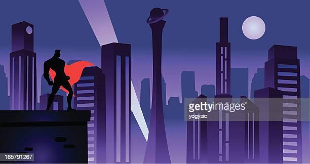 superhero in retro city - night stock illustrations