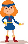 Superhero kid girl cartoon vector illustrationt