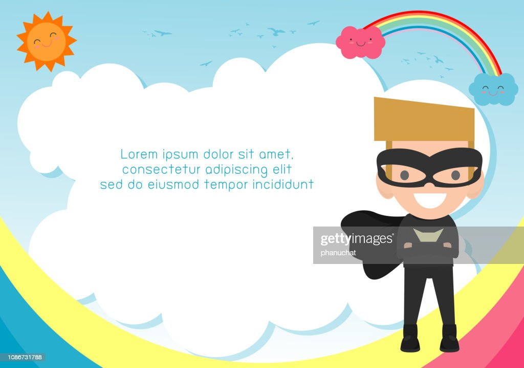 Superhero kid on background,Template for advertising brochure,your text ,Cute little Superhero Children's, Kids and frame,child and frame,Vector Illustration