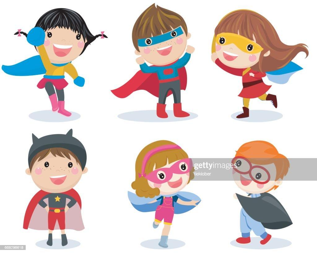 Superhero kids boys and girls cartoon vector illustration collection.