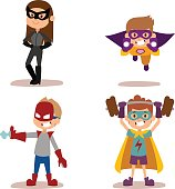 Superhero kids boys and girls cartoon vector illustrationt