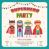 Superhero kids. Card invitation with group of cute kids