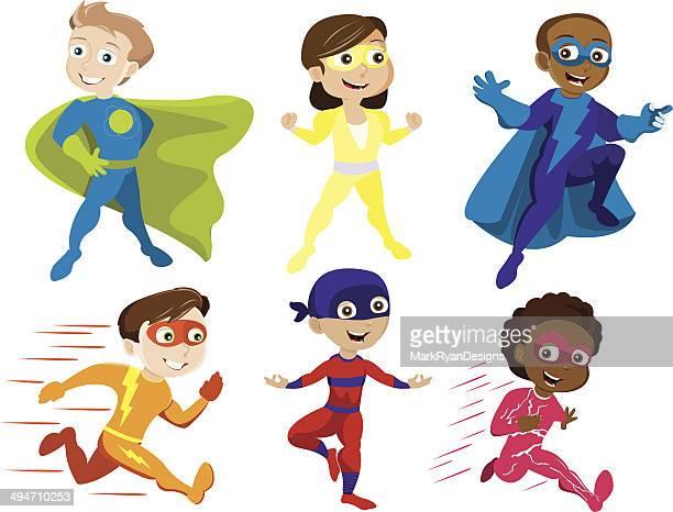 superhero kids - stage costume stock illustrations